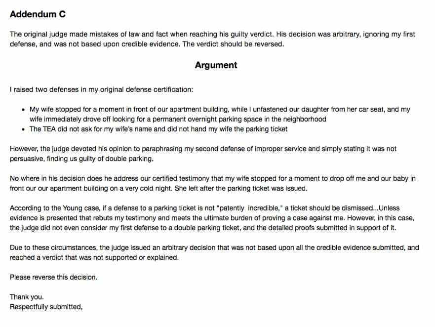 double parking ticket appeal argument