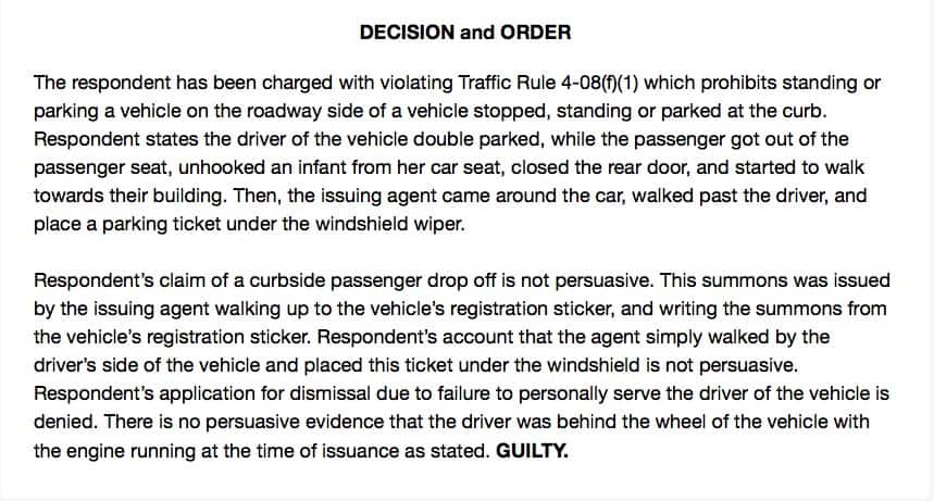 double parking ticket decision and order
