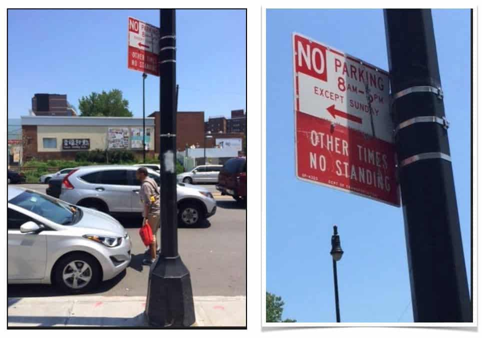 two confusing NYC parking signs on the same pole