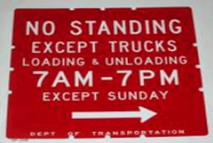 The old no standing except trucks loading and unloading parking rule