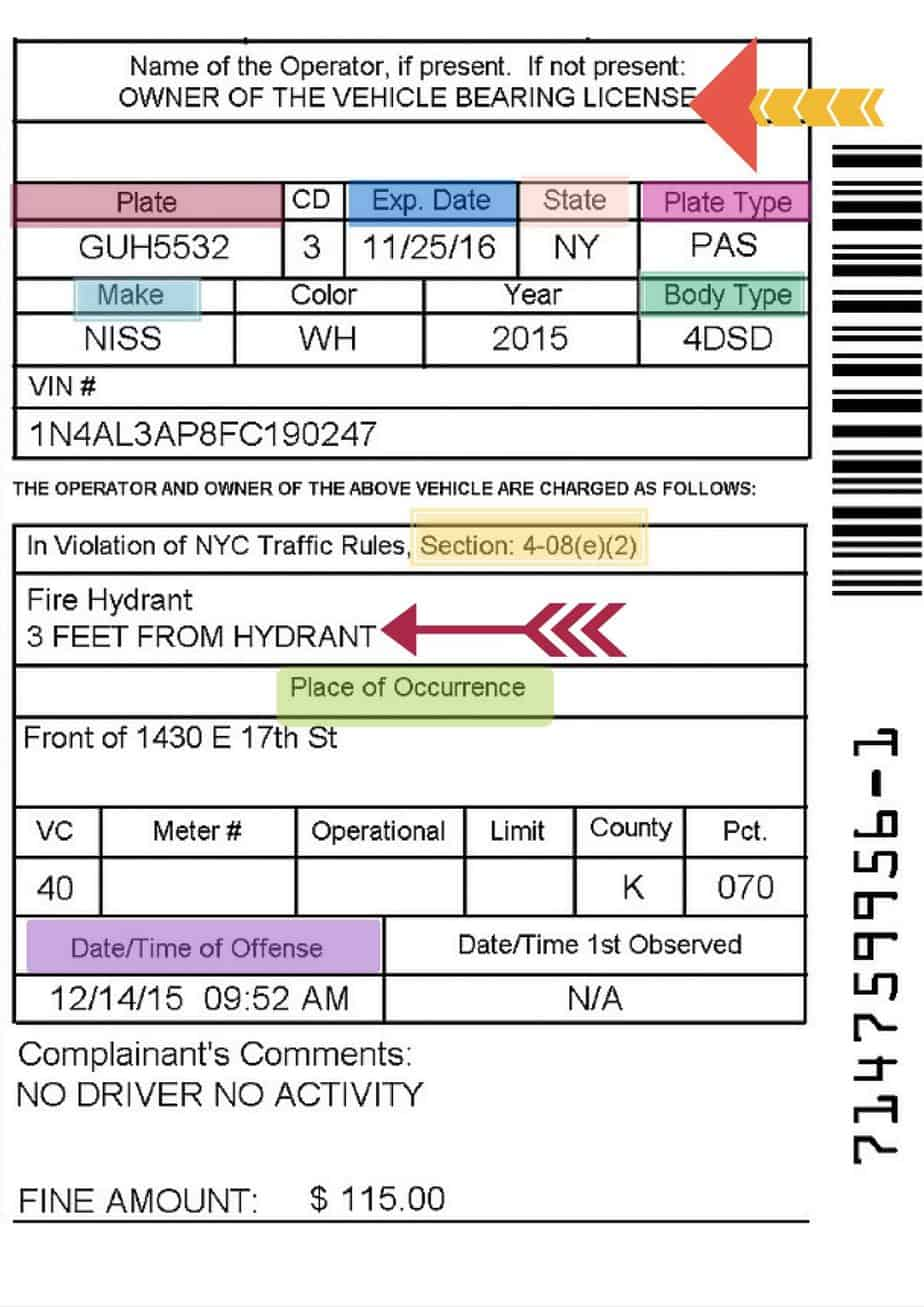 "Is the ""Name of Operator"" a Required Element in a NYC Parking Ticket"