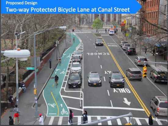 Safe Streets project of two-way bike lane on Chrystie Street