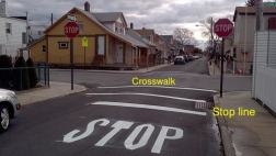This shows a NYC stop line and crosswalk