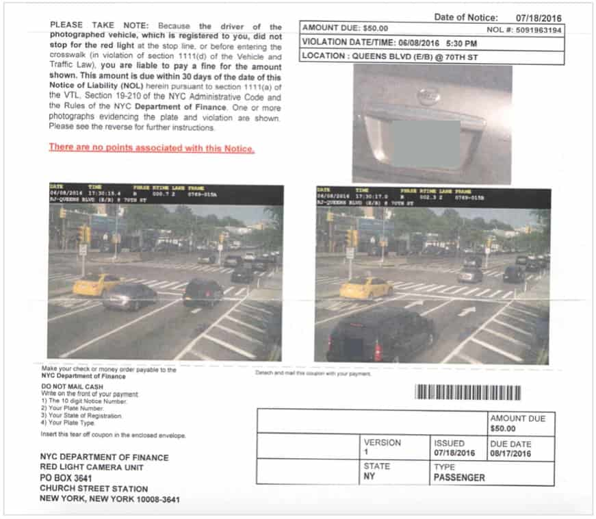 this is the summons in a red light camera case