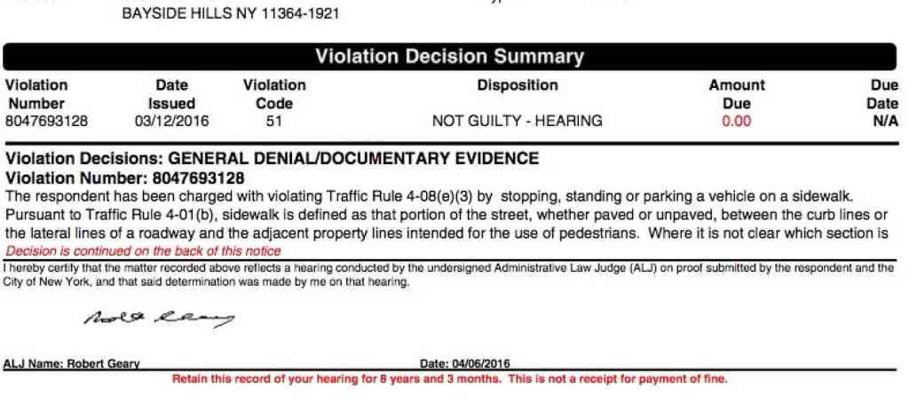 Sidewalk case decision_not guilty