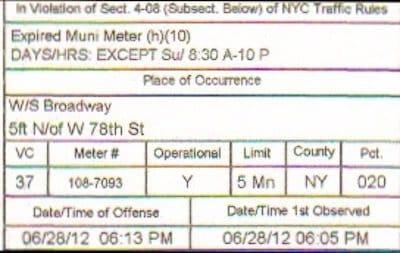 Expired Muni Meter ticket
