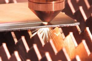 A TeraDiode laser cuts through one-sixteenth inch thick stainless steel