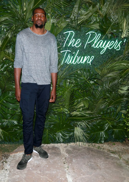 JULY 11: NBA player Kevin Durant attends The Players' Tribune Hosts Players' Night Out 2017 at The Beverly Hills Hotel on July 11, 2017 in Beverly Hills, California. (Photo by Leon Bennett/Getty Images for The Players' Tribune )