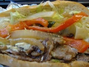 Steak sandwich closeup