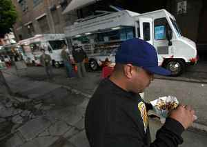 Mobile food court in downtown L.A.