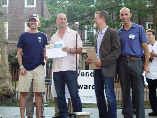 Dessert winner Alex Rein, last year's winner Thomas De Geest, Pat Kiernan and Sean Basinski