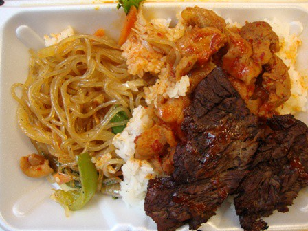 Beef ribs and spicy chicken combo from Bapcha
