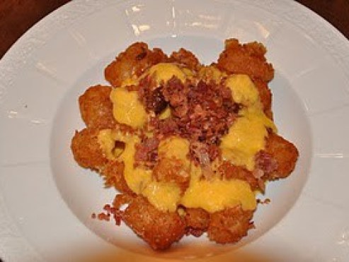 Tater tots with bacon & cheddar