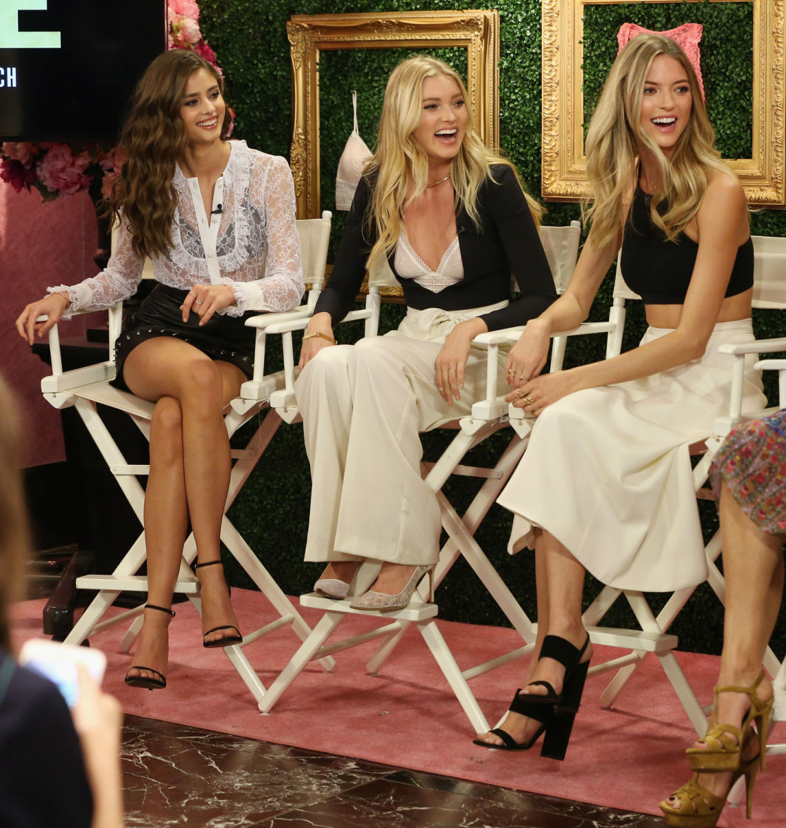 """NEW YORK, NEW YORK - APRIL 12:  (L-R) Victoria's Secret Angels Taylor Hill, Elsa Hosk and Martha Hunt host global media live stream to reveal Bralette Collection & launch multi-city tour at Victoria's Secret Herald Square on April 12, 2016 in New York City  (Photo by Cindy Ord/Getty Images for Victoria's Secret)"""