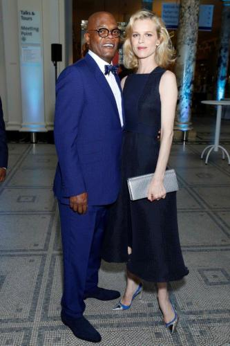 Samuel L Jackson & Eva Herzigova at one for the boys  charity ball