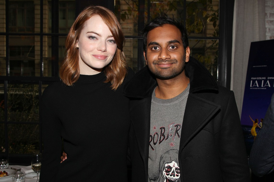 """New York, NY - - 11/27/16 -Bulleit Bourbon Hosts a Luncheon to Celebrate """"LA LA LAND"""" at Le Coucou. The film is written and directed by Damien Chazelle, and stars Emma Stone and Ryan Gosling. It releases in theaters on December 16th, 2016. -Pictured: Emma Stone and Aziz Ansari -Photo by: Kristina Bumphrey/StarPix"""
