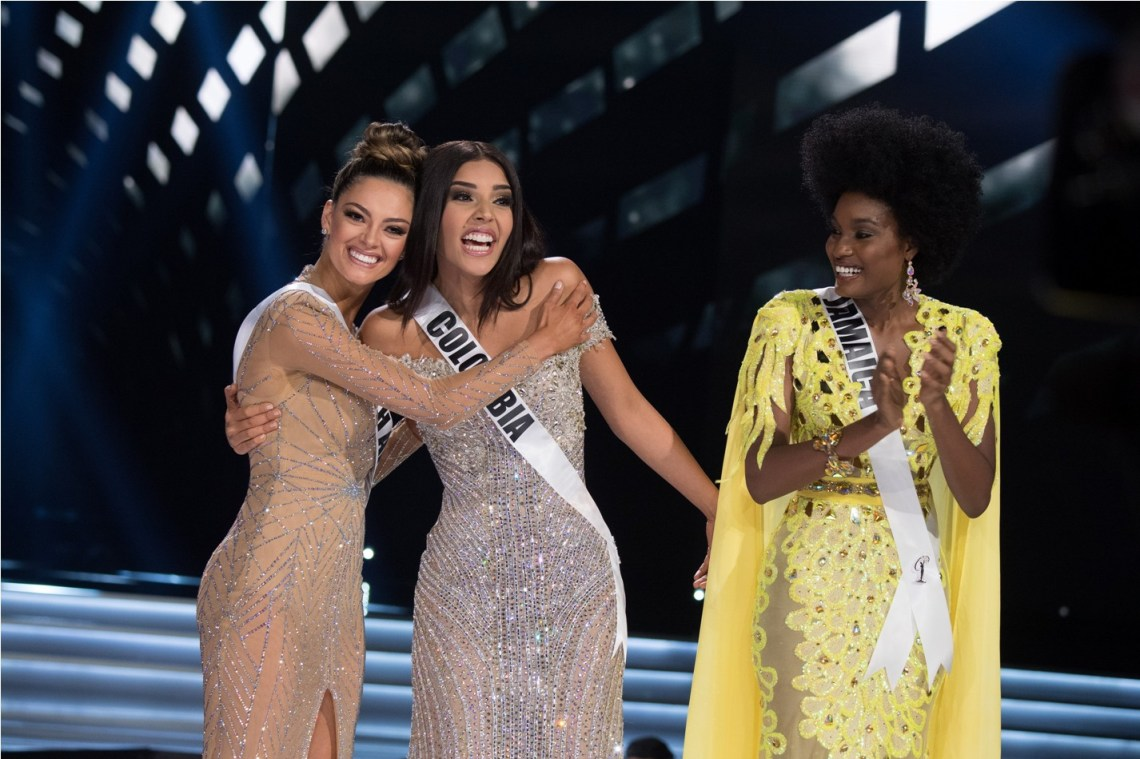 Demi-Leigh Nel-Peters, Miss South Africa 2017; Laura González, Miss Colombia 2017; and Davina Bennett, Miss Jamaica 2017
