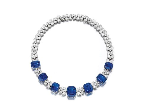 a magnificent sapphire and diamond Necklace and Bracelet combination by Harry Winston