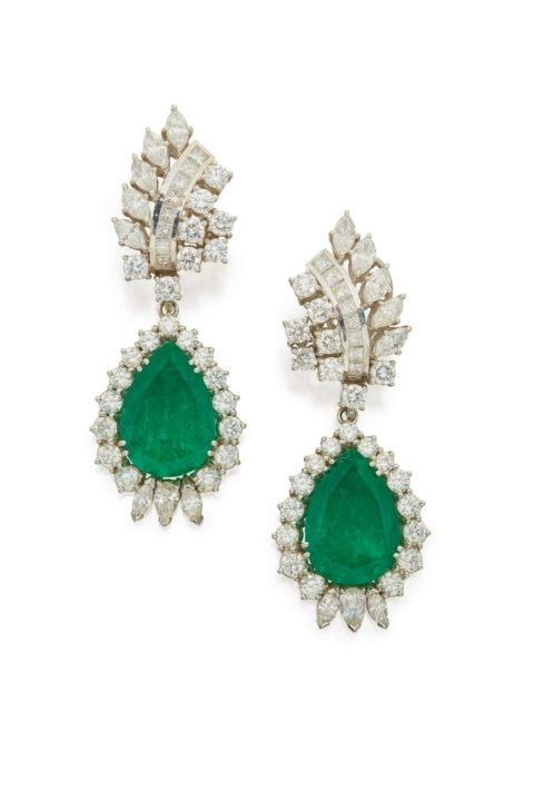 pair of ear clips set with round, marquise-shaped and square-cut diamonds