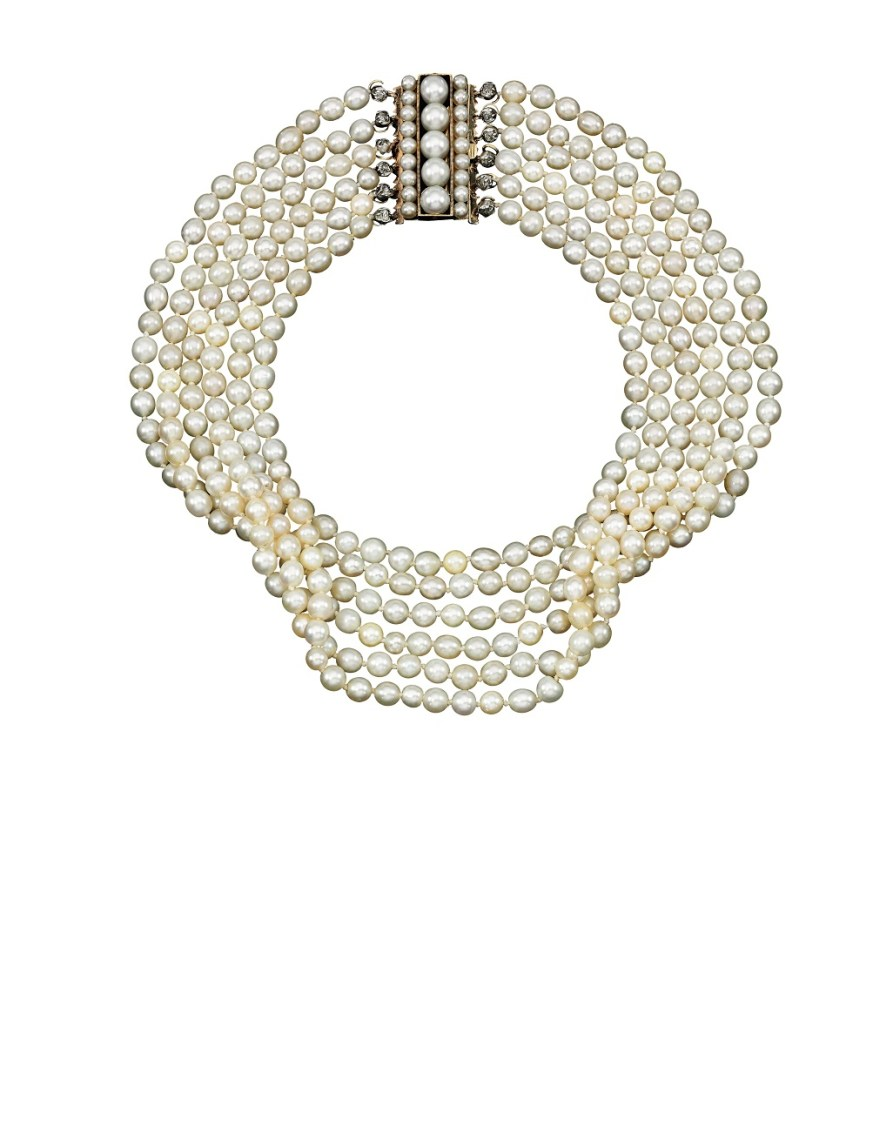 Natural pearl clasp and a cultured pearl and diamond necklace -Sotheby's Geneva 14 Nov 2018