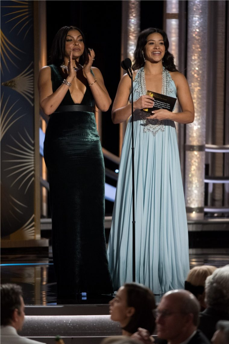 Taraji P. Henson and Gina Rodriguez present at the 76th Annual Golden Globe Awards at the Beverly Hilton in Beverly Hills, CA on Sunday, January 6, 2019.