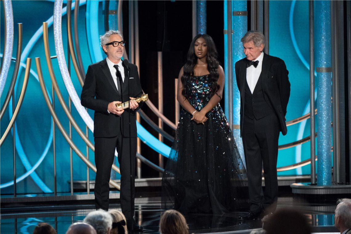 "The Golden Globe is awarded to Alfonso Cuarón for BEST DIRECTOR – MOTION PICTURE for ""Roma"" at the 76th Annual Golden Globe Awards at the Beverly Hilton in Beverly Hills, CA on Sunday, January 6, 2019."