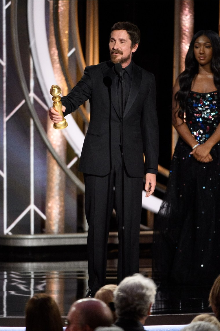 "Christian Bale accepts the Golden Globe Award for BEST PERFORMANCE BY AN ACTOR IN A MOTION PICTURE – COMEDY OR MUSICAL for his role in ""Vice"" at the 76th Annual Golden Globe Awards at the Beverly Hilton in Beverly Hills, CA on Sunday, January 6, 2019."