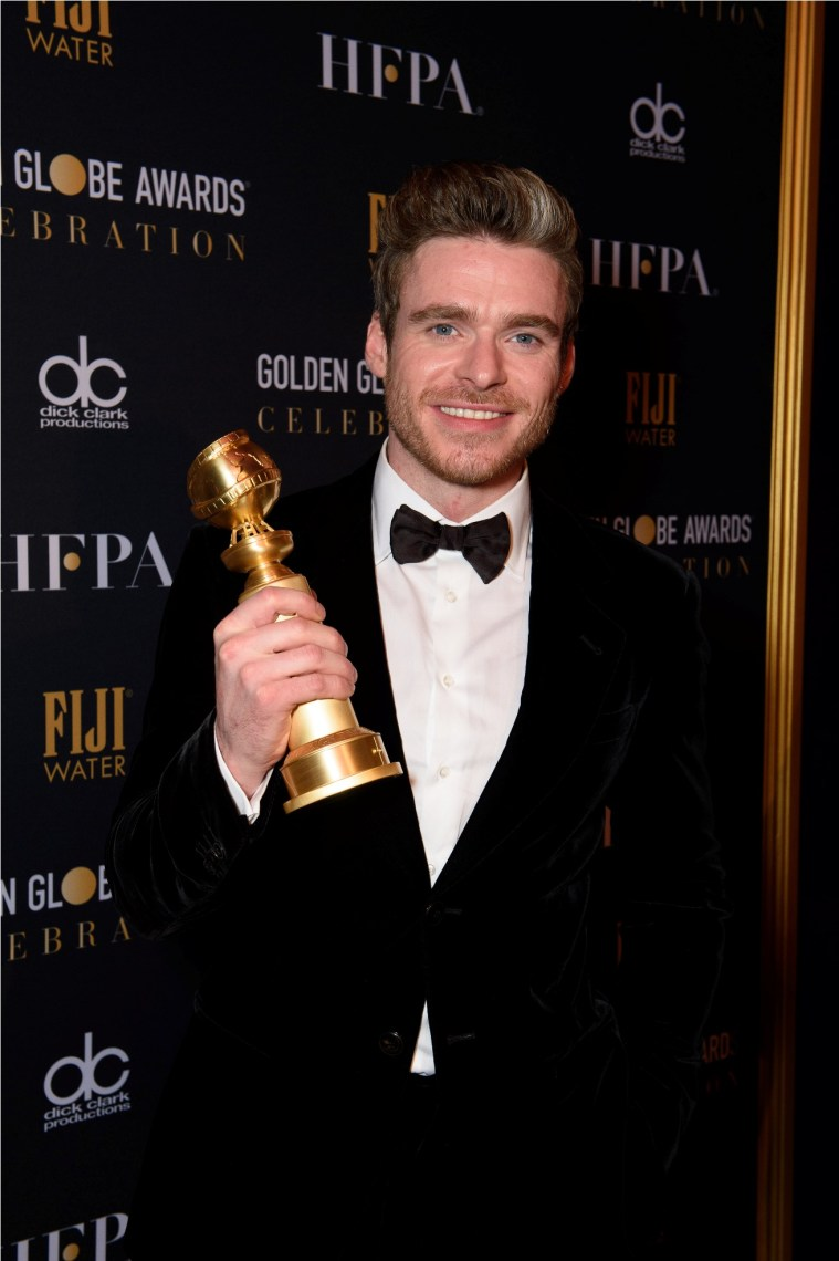 "After winning the category of BEST PERFORMANCE BY AN ACTOR IN A TELEVISION SERIES – DRAMA for his role in ""Bodyguard,"" actor Richard Madden poses backstage in the press room with his Golden Globe Award at the 76th Annual Golden Globe Awards at the Beverly Hilton in Beverly Hills, CA on Sunday, January 6, 2019."