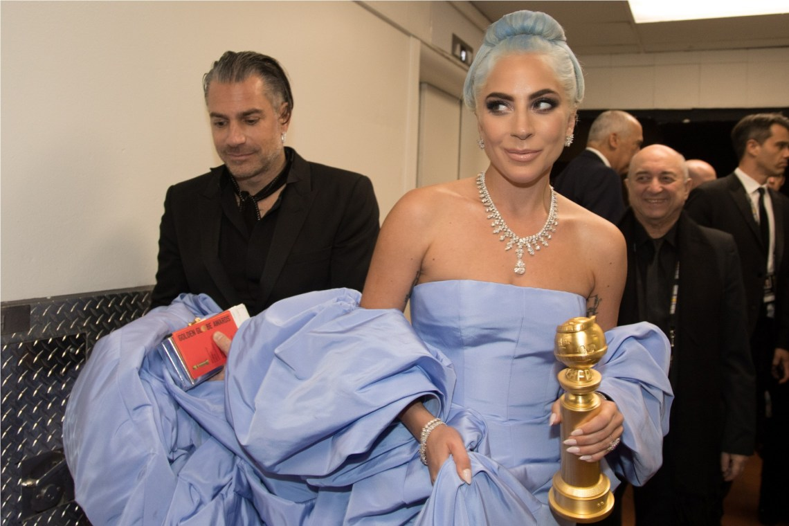 "After winning the category of BEST ORIGINAL SONG – MOTION PICTURE for ""Shallow"" from ""A Star Is Born"", Lady Gaga poses with the award backstage at the 76th Annual Golden Globe Awards at the Beverly Hilton in Beverly Hills, CA on Sunday, January 6, 2019."