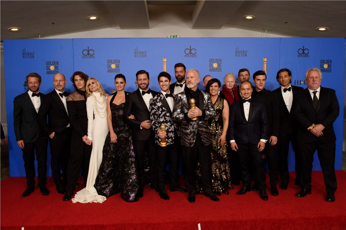 "After winning the Golden Globe for BEST TELEVISION LIMITED SERIES OR MOTION PICTURE MADE FOR TELEVISION for ""The Assassination of Gianni Versace: American Crime Story"" (FX Networks), Tom Rob Smith, Daniel Minahan, Cody Fern, Judith Light, Penelope Cruz, Edgar Ramirez, Darren Criss, Ricky Martin, Ryan Murphy, Alexis Martin Wodall, Lou Eyrich, Jon Jon Briones, Finn Wittrock, Brad Falchuk, and Larry Karaszewski pose with the award backstage in the press room at the 76th Annual Golden Globe Awards at the Beverly Hilton in Beverly Hills, CA on Sunday, January 6, 2019."