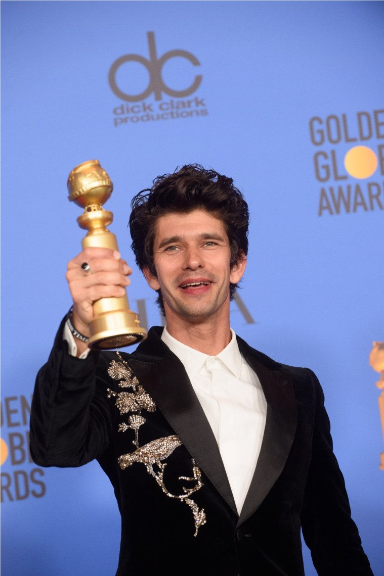 "After winning the category of BEST PERFORMANCE BY AN ACTOR IN A SUPPORTING ROLE IN A SERIES, LIMITED SERIES OR MOTION PICTURE MADE FOR TELEVISION for his role in ""A Very English Scandal,"" actor Ben Whishaw poses backstage in the press room with his Golden Globe Award at the 76th Annual Golden Globe Awards at the Beverly Hilton in Beverly Hills, CA on Sunday, January 6, 2019."