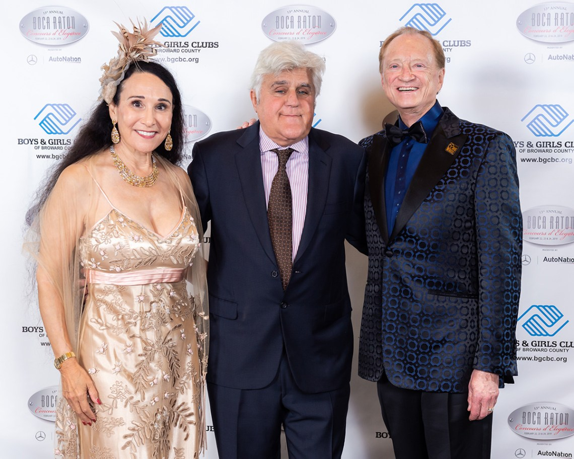 Boca Raton Concours dElegance event Founders Rick Case with wife Rita Case and Jay Leno