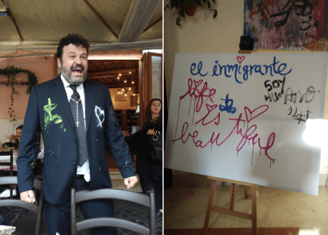 """It was announced during their creative session that Zapata had been named an ambassador for the Pontifical Scholas Occurrentes Foundation, an organization founded by His Holiness that raises awareness of the importance of art in education. This is the second time Zapata has painted with Pope Francis, the first time being in May 2018. The work they created then was sold at auction for half a million dollars. This new immigration-themed piece will also be sold at an auction to benefit the foundation at a date that is yet to be determined. Of the chosen theme, Zapata noted, """"I'm a citizen of the world and a constant immigrant, and I come from a humble background. The subject of immigration, therefore, is important to me, especially in an age where people want to build walls between countries. I disagree with this thinking. I want to raise the issue and make a point out of it."""" You can find the artist's biography below. Please let me know if you can cover this, or would like to connect with the artist to learn more. All the best, Bridget About Domingo Zapata: Domingo Zapata is a Spanish-American artist born in Palma de Mallorca, Spain. Currently, Zapata maintains studios in his Gramercy Park townhouse in New York City, the Design District in Miami, and Hollywood. In these private ateliers, he produces Neo-Expressionist paintings, as well as sculpture. He paints in both oil and acrylic, often incorporating mixed-media, collage, and graffiti. For over 20 years, Zapata has built a body of work, which varies significantly in motif, though consistently explores themes of sexuality, opulence, and vitality in his signature style. In this distinctive hand, Zapata layers fantasy and reality, luring the viewer in to his potent, cosmically beautiful world. Known for his signature """"Polo"""" series, which first gained him critical acclaim, more recent work focuses on themes including his native Spanish culture, American Pop icons, and the state of the contemporary practice. He often dr"""