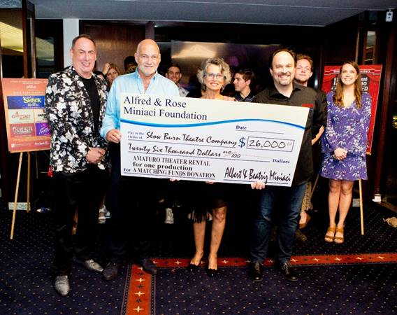 Check presentation to Slow Burn Theatre Company from the Alfred & Rose Miniaci Foundation. (Mark Traverso, Albert & Beatriz Miniaci, and Matthew Korinko)