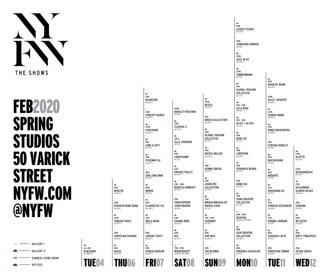 New York Fashion Week - NYFW Womens February 2020 Schedule