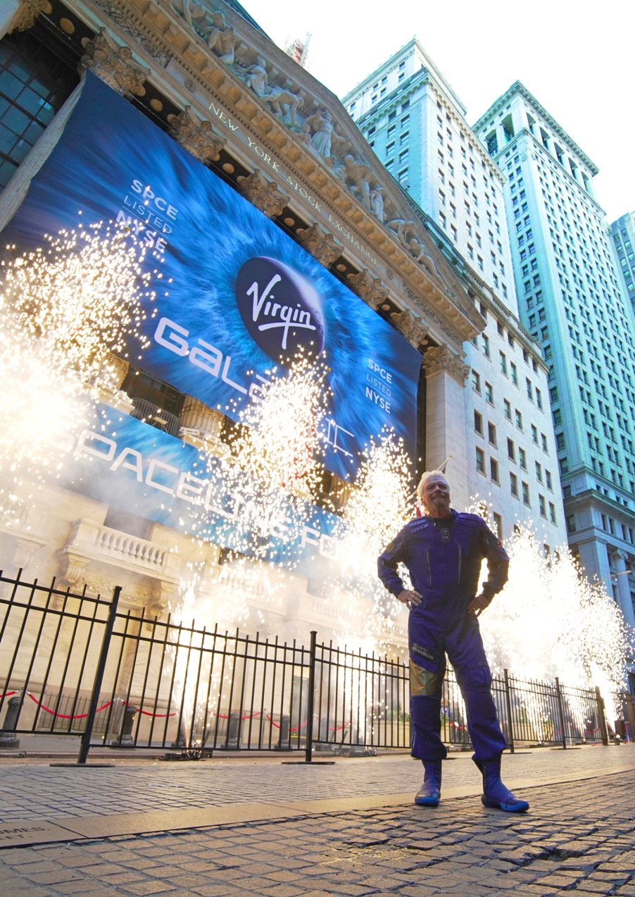 Richard Branson in front of the NYSE