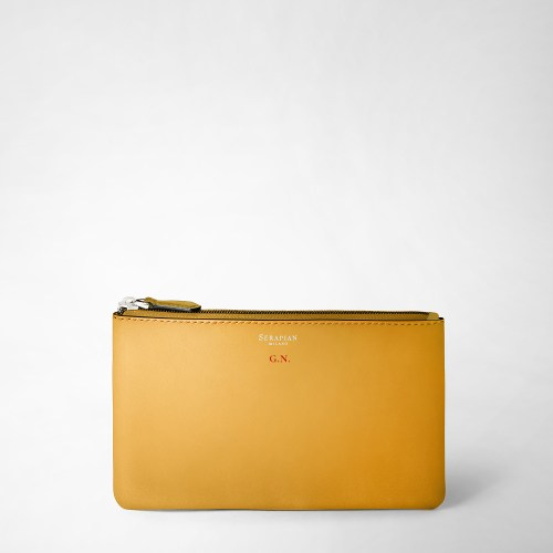 Serapian Pouch Plain leather yellow initials