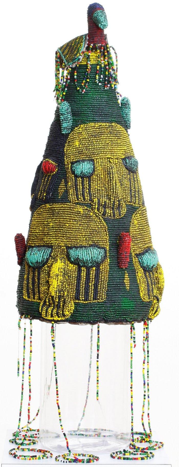 Yoruba crown (ade), no date. Beads and cloth. Gift of Mrs. June Bakalar.