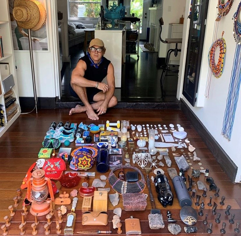 Carlos Betancourt on the floor of his studio