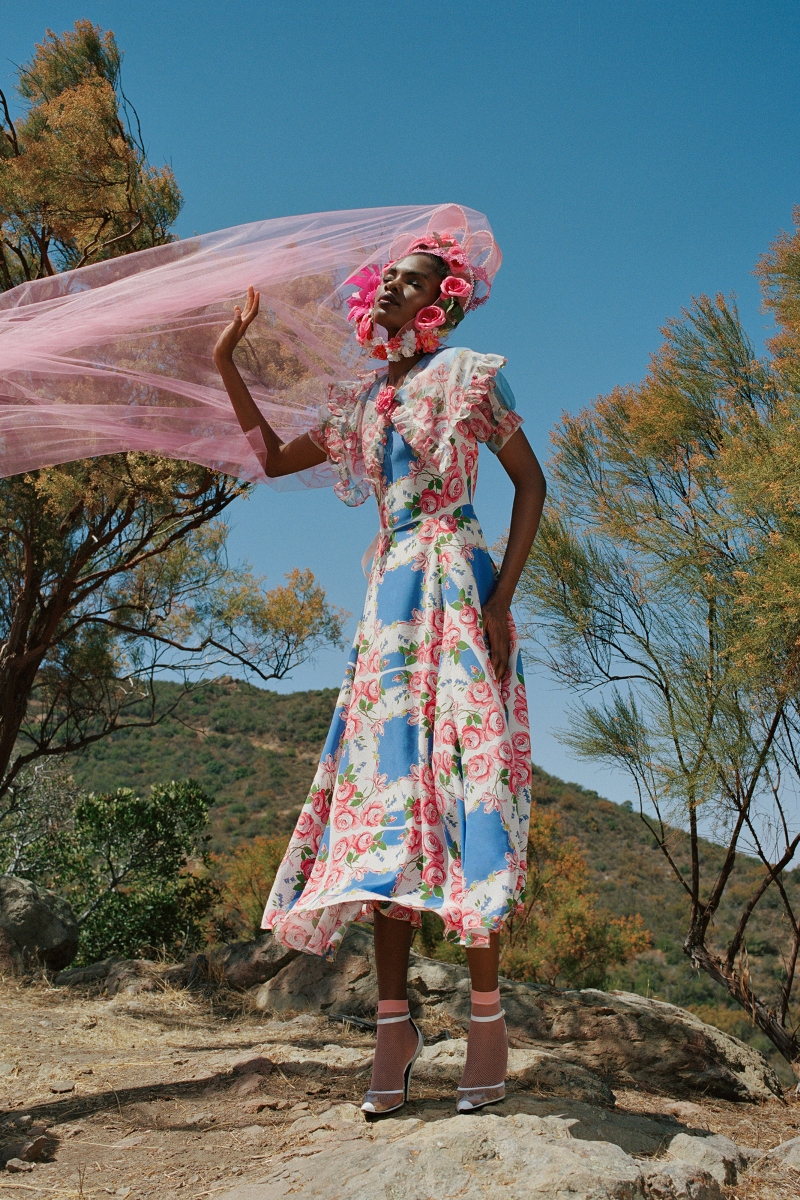 PINK AND BLUE FLORAL PRINTED SILK DRESS WITH SILK ORGANZA RUFFLE COLLAR - LOOK 7
