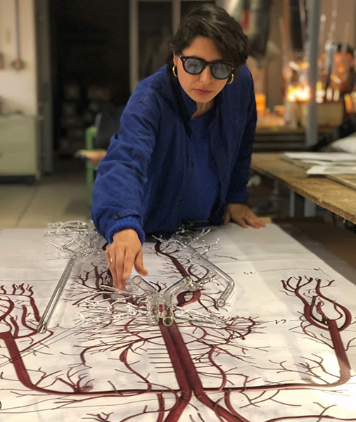 Prune Nourry at the Berengo Studio in Venice.