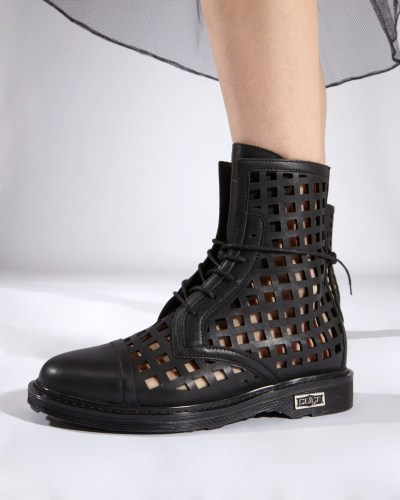 black boots with square cuts by Cult