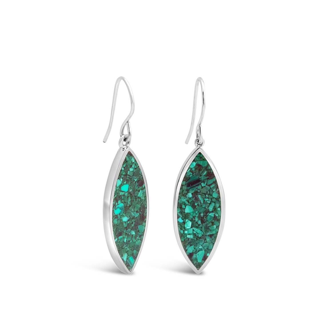 Luxe Marquise Earrings Malachite
