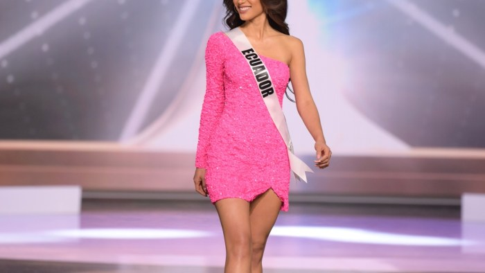 Leyla Espinoza Calvache, Miss Universe Ecuador 2020 on stage in fashion by Sherri Hill during the opening of the MISS UNIVERSE® Preliminary Competition at the Seminole Hard Rock Hotel & Casino in Hollywood, Florida on May 14, 2021. Tune in to the live telecast on FYI and Telemundo on Sunday, May 16 at 8:00 PM ET to see who will become the next Miss Universe.