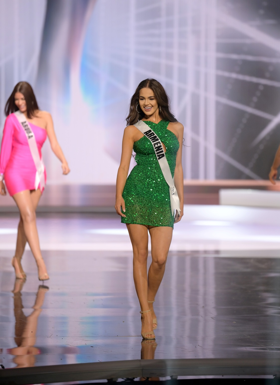 Monika Grigoryan, Miss Universe Armenia 2020 on stage in fashion by Sherri Hill during the opening of the MISS UNIVERSE® Preliminary Competition at the Seminole Hard Rock Hotel & Casino in Hollywood, Florida on May 14, 2021. Tune in to the live telecast on FYI and Telemundo on Sunday, May 16 at 8:00 PM ET to see who will become the next Miss Universe.
