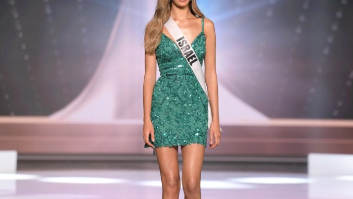 Tehila Levi, Miss Universe Israel 2020 on stage in fashion by Sherri Hill during the opening of the MISS UNIVERSE® Preliminary Competition at the Seminole Hard Rock Hotel & Casino in Hollywood, Florida on May 14, 2021. Tune in to the live telecast on FYI and Telemundo on Sunday, May 16 at 8:00 PM ET to see who will become the next Miss Universe.