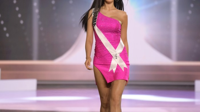 Hari Park, Miss Universe Korea 2020 on stage in fashion by Sherri Hill during the opening of the MISS UNIVERSE® Preliminary Competition at the Seminole Hard Rock Hotel & Casino in Hollywood, Florida on May 14, 2021. Tune in to the live telecast on FYI and Telemundo on Sunday, May 16 at 8:00 PM ET to see who will become the next Miss Universe.