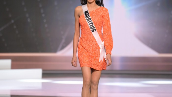 Vandana Jeetah, Miss Universe Mauritius 2020 on stage in fashion by Sherri Hill during the opening of the MISS UNIVERSE® Preliminary Competition at the Seminole Hard Rock Hotel & Casino in Hollywood, Florida on May 14, 2021. Tune in to the live telecast on FYI and Telemundo on Sunday, May 16 at 8:00 PM ET to see who will become the next Miss Universe.