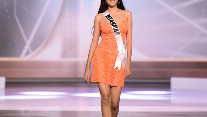 Thuzar Wint Lwin, Miss Universe Myanmar 2020 on stage in fashion by Sherri Hill during the opening of the MISS UNIVERSE® Preliminary Competition at the Seminole Hard Rock Hotel & Casino in Hollywood, Florida on May 14, 2021. Tune in to the live telecast on FYI and Telemundo on Sunday, May 16 at 8:00 PM ET to see who will become the next Miss Universe.