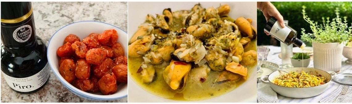 EVOO is a healthy, flavorful condiment; pictured are roasted tomatoes, mussels and pastamade with Piro.
